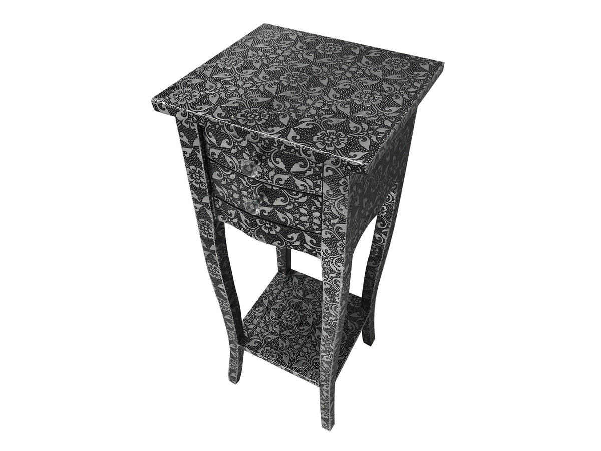 Repousse Small Bedside Table with 2 Drawers and 1 Shelf