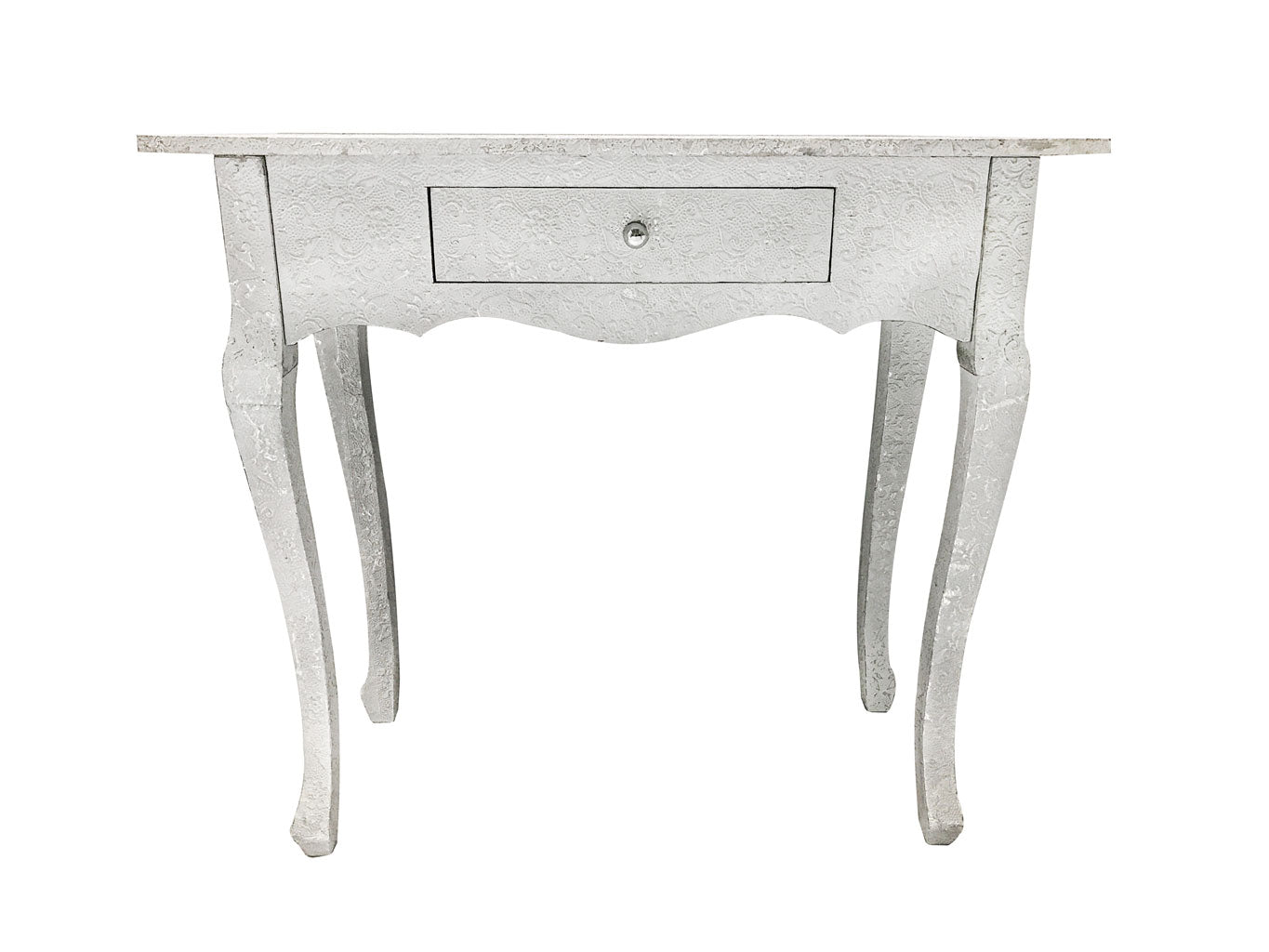 Repousse Console Table with 1 Drawer in White and Silver Finish
