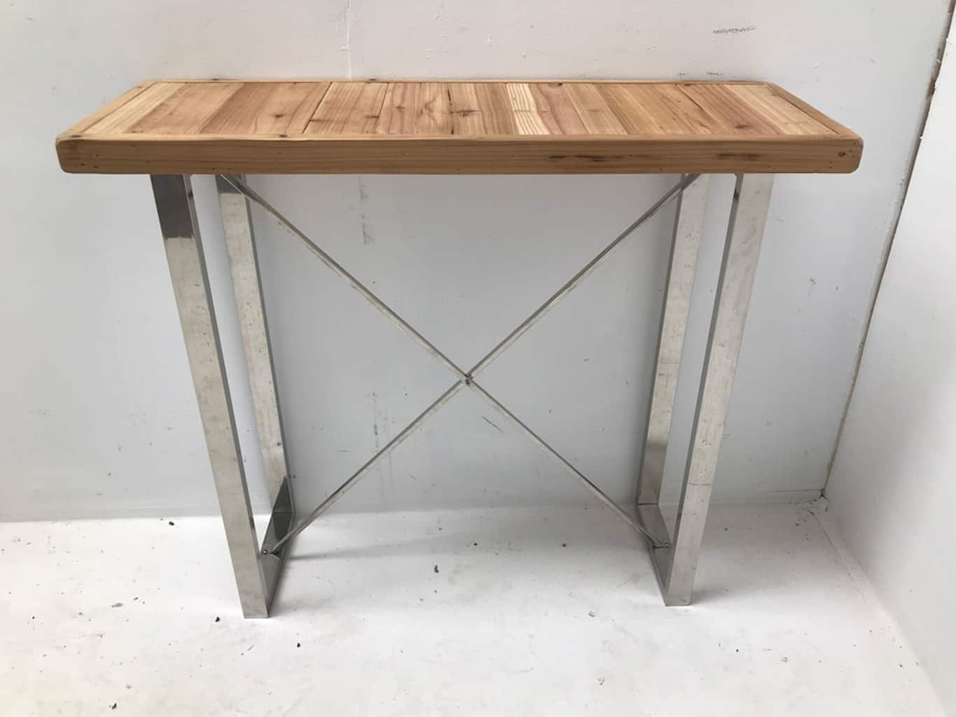 Slim console table, wooden top, steel legs