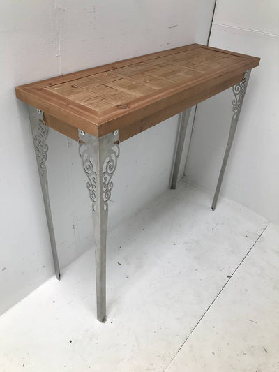 Console table wood and metal legs