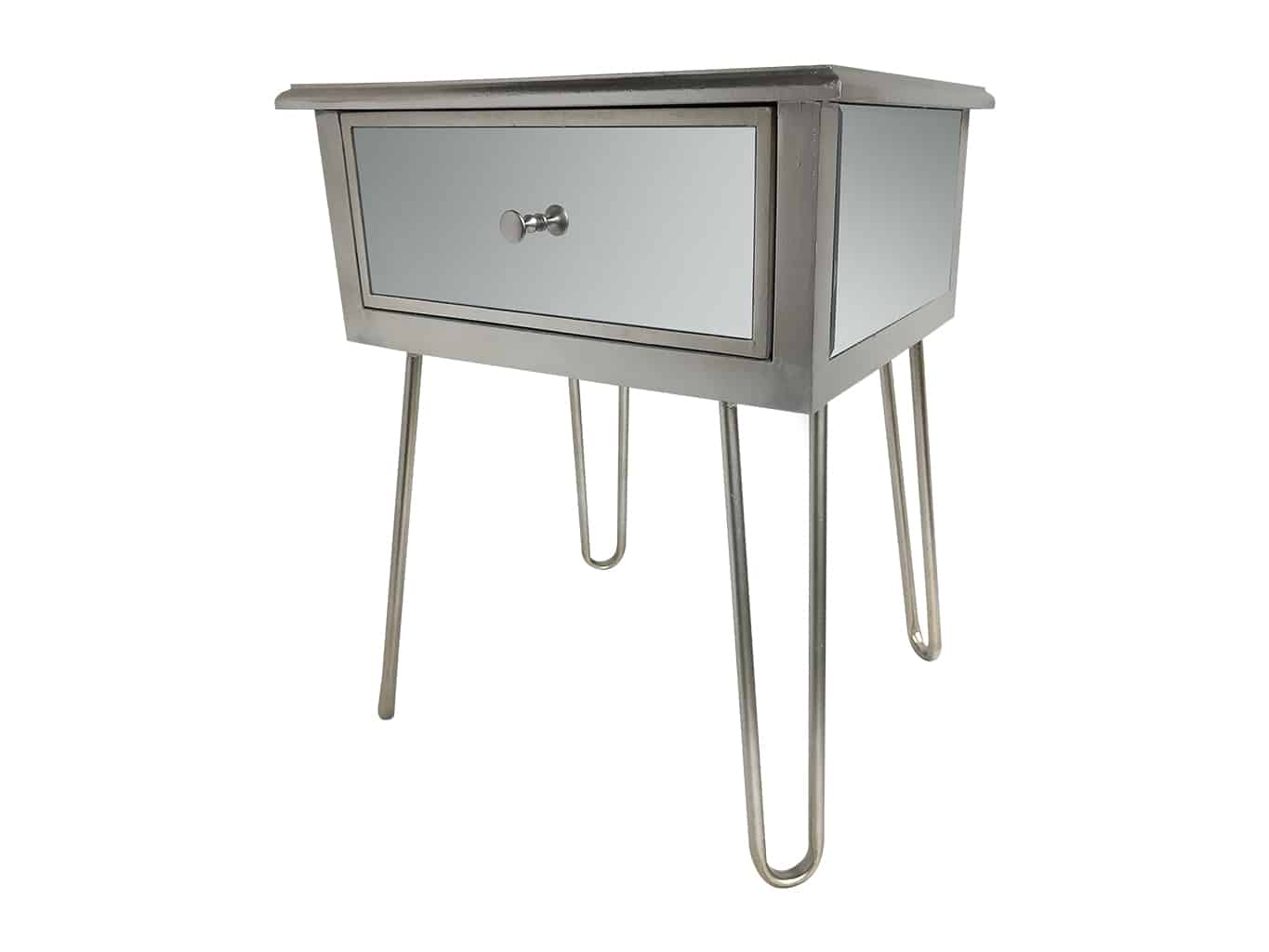 Silver Mirrored Bedside Table » Hairpin legs