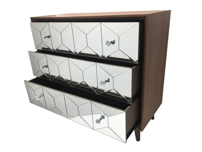 Mirrored chest of drawers, walnut wood and mirror, crystal knobs, modern design