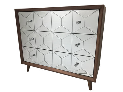 Mirrored chest of 3 drawers, walnut wood and mirror, crystal knobs, modern design.