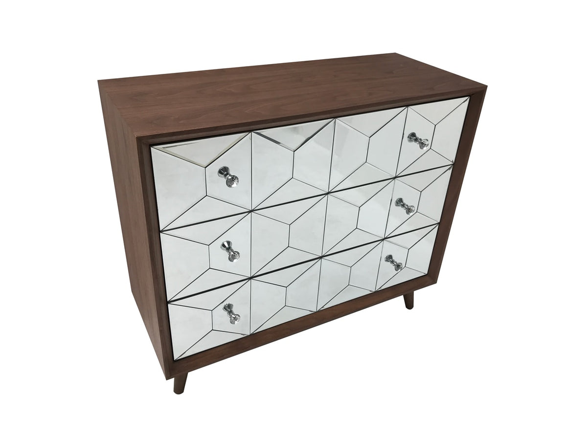 Mirrored chest of 3 drawers, walnut wood and mirror, crystal knobs, modern design
