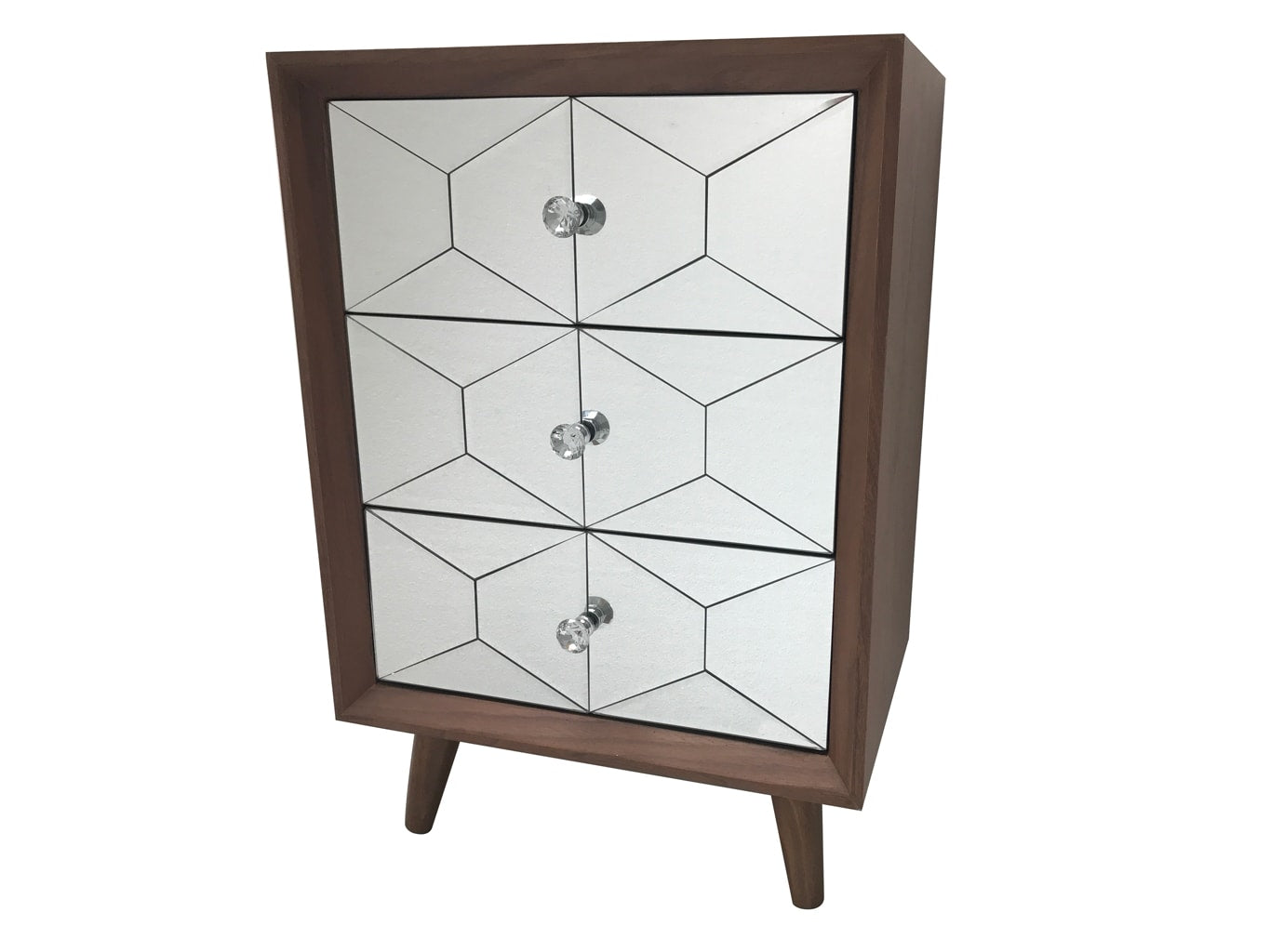 Wooden Chest of Drawers with 3 Mirrored Drawers