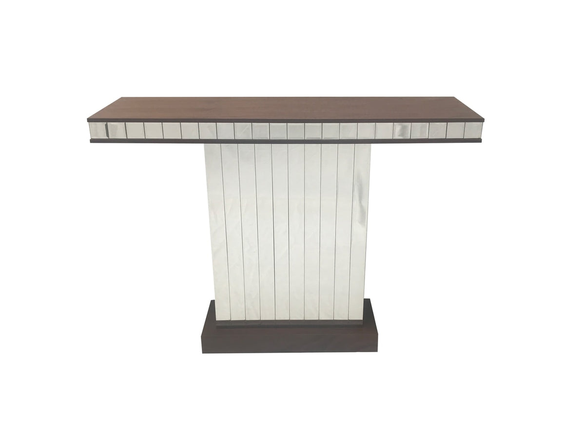 Mirrored console table, contemporary design, single column, mirrored panels, walnut wooden top, accent table