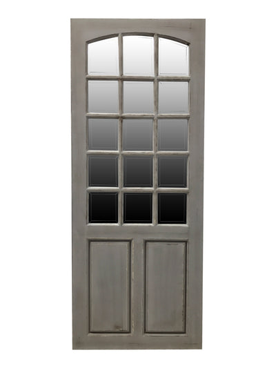 Door with 15 bevelled mirror panels in rubbed grey