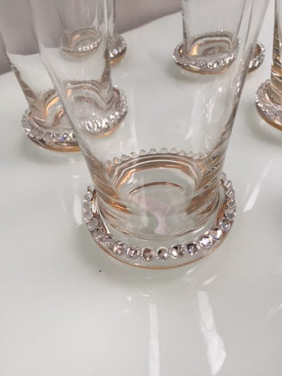 Set 6 diamante tumblers glass & diamante clear and gold