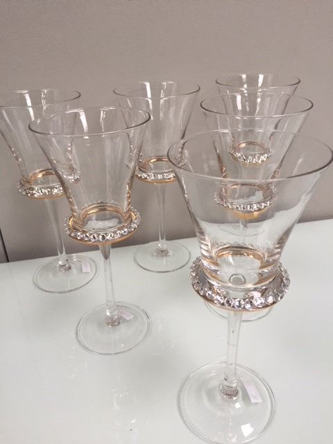 Diamante White Wine Glasses - Set of 6