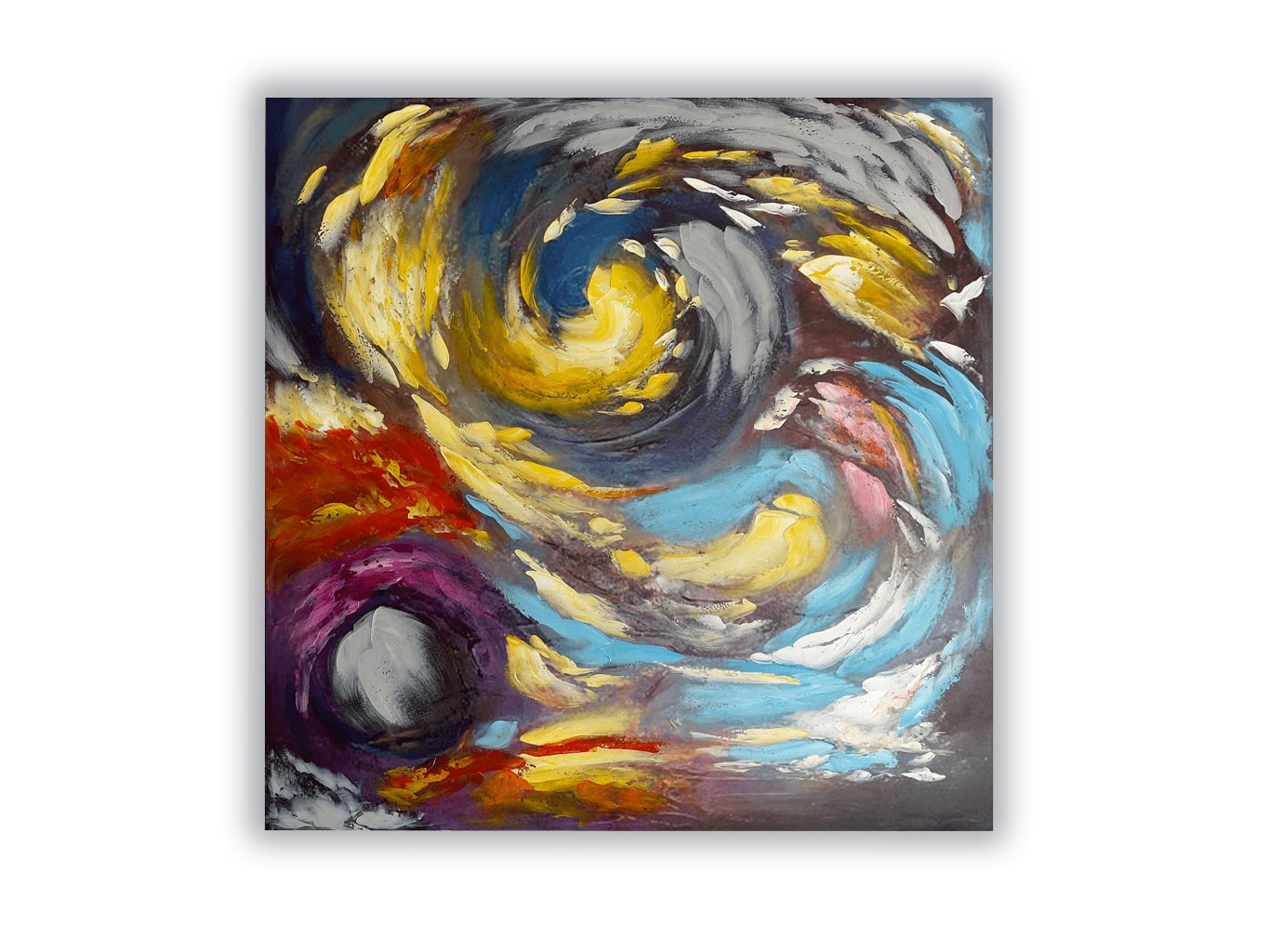 Abstract Wrapped Canvas Painting in Colour