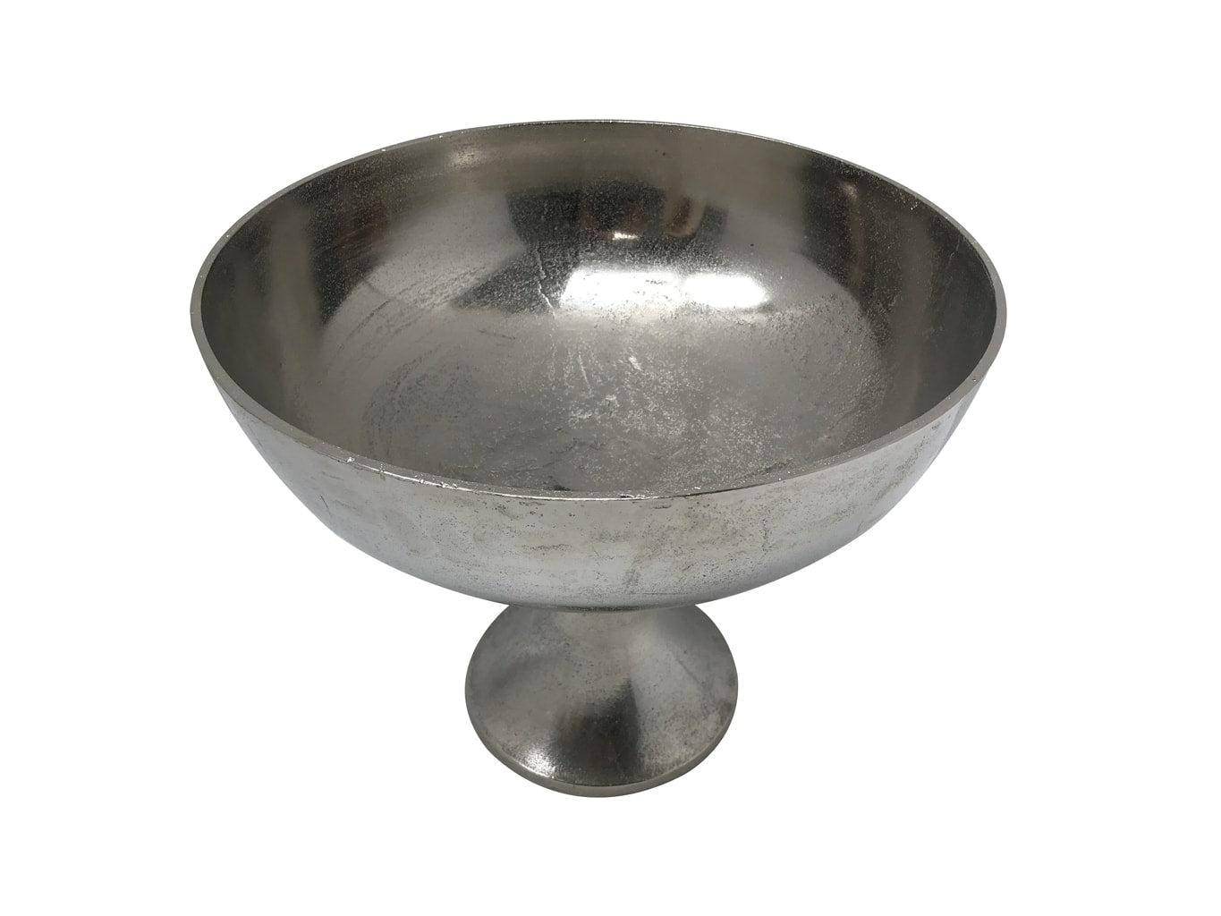 Silver bowl on a stand, metal finish.