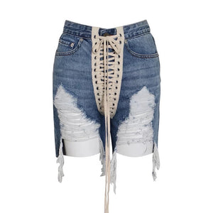 String Me Along Denim Shorts - Version II