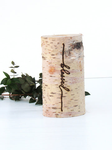 blessed thanksgiving birch candle