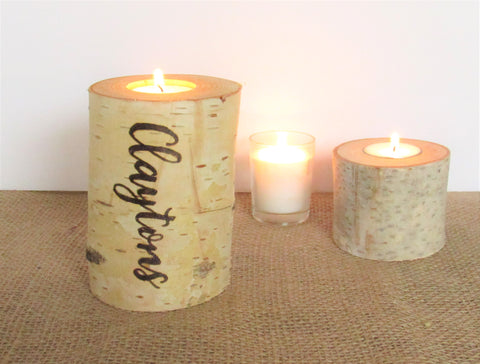 Customized birch candle last name