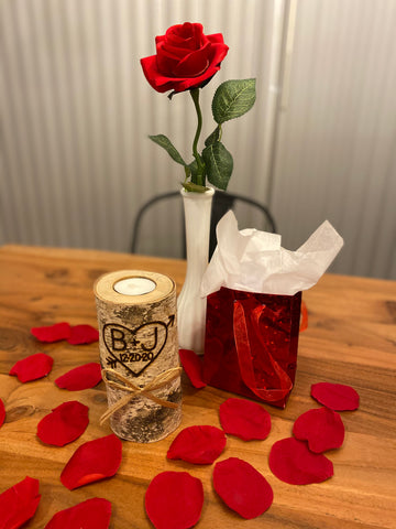 birch candle valentine's day with rose and gift bag