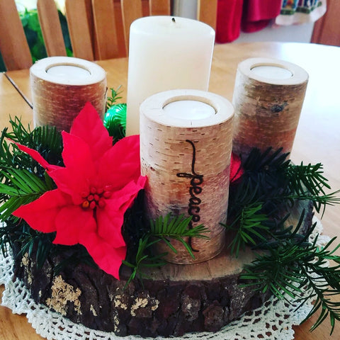 Holiday advent wreath birch candles set of four