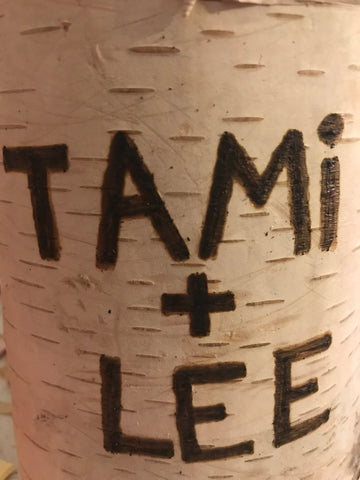 Birch tree engraving on a candle