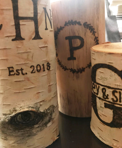 Personalized birch candles hand burned