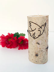 Birch Memorial Candle with dove