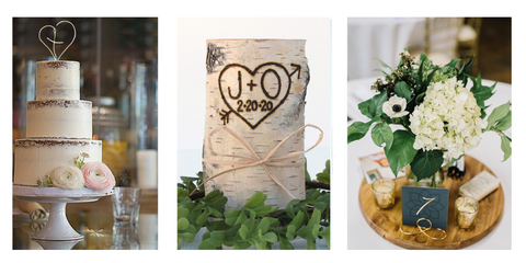 Wedding cake topper / Birch Candle / Wedding table number holders