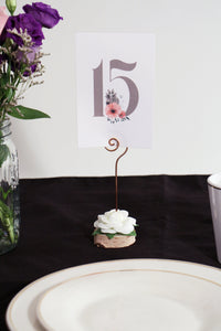 Birch Wedding Table Number Holder with White Flower - JV Country Creations