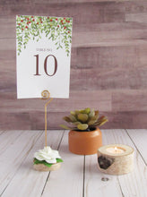Load image into Gallery viewer, Birch Wedding Table Number Holder with White Flower - JV Country Creations