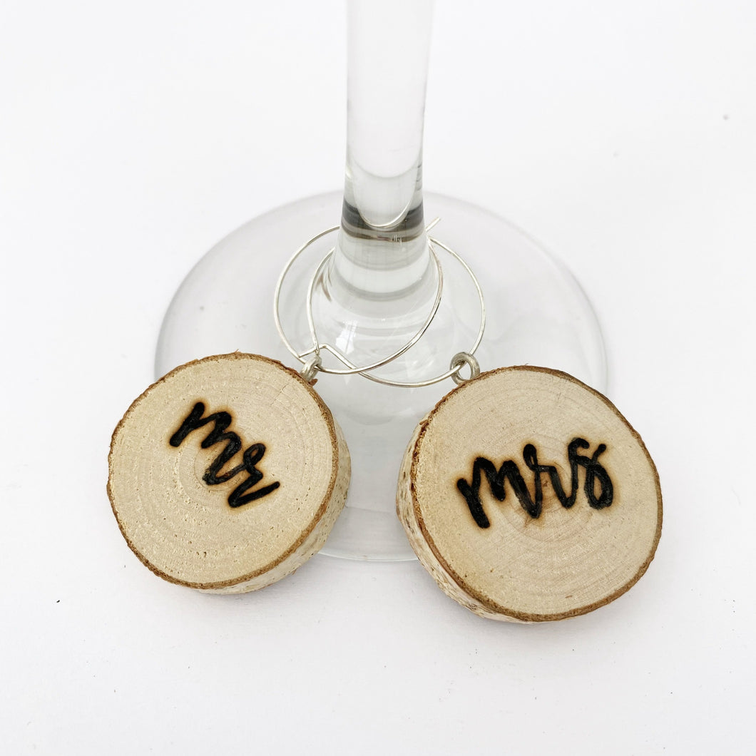 Wood Slice Mr and Mrs Wine Charms - JV Country Creations