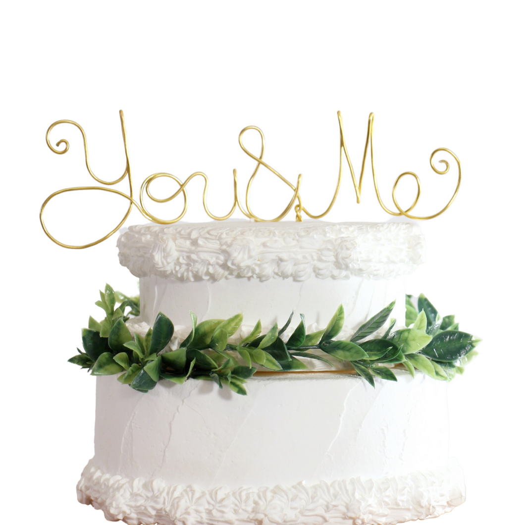 You and Me Wedding Cake Topper - JV Country Creations