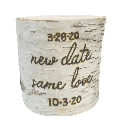 New Date Same Love Wedding Birch Candle - JV Country Creations
