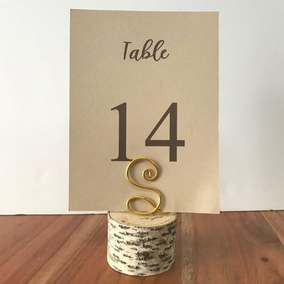 Birch and Wire Monogram Table Number Holder - JV Country Creations