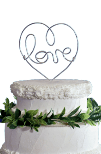 Love Heart Wire Cake Topper - JV Country Creations