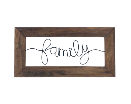 Family Framed Wire Wall Décor Sign - JV Country Creations