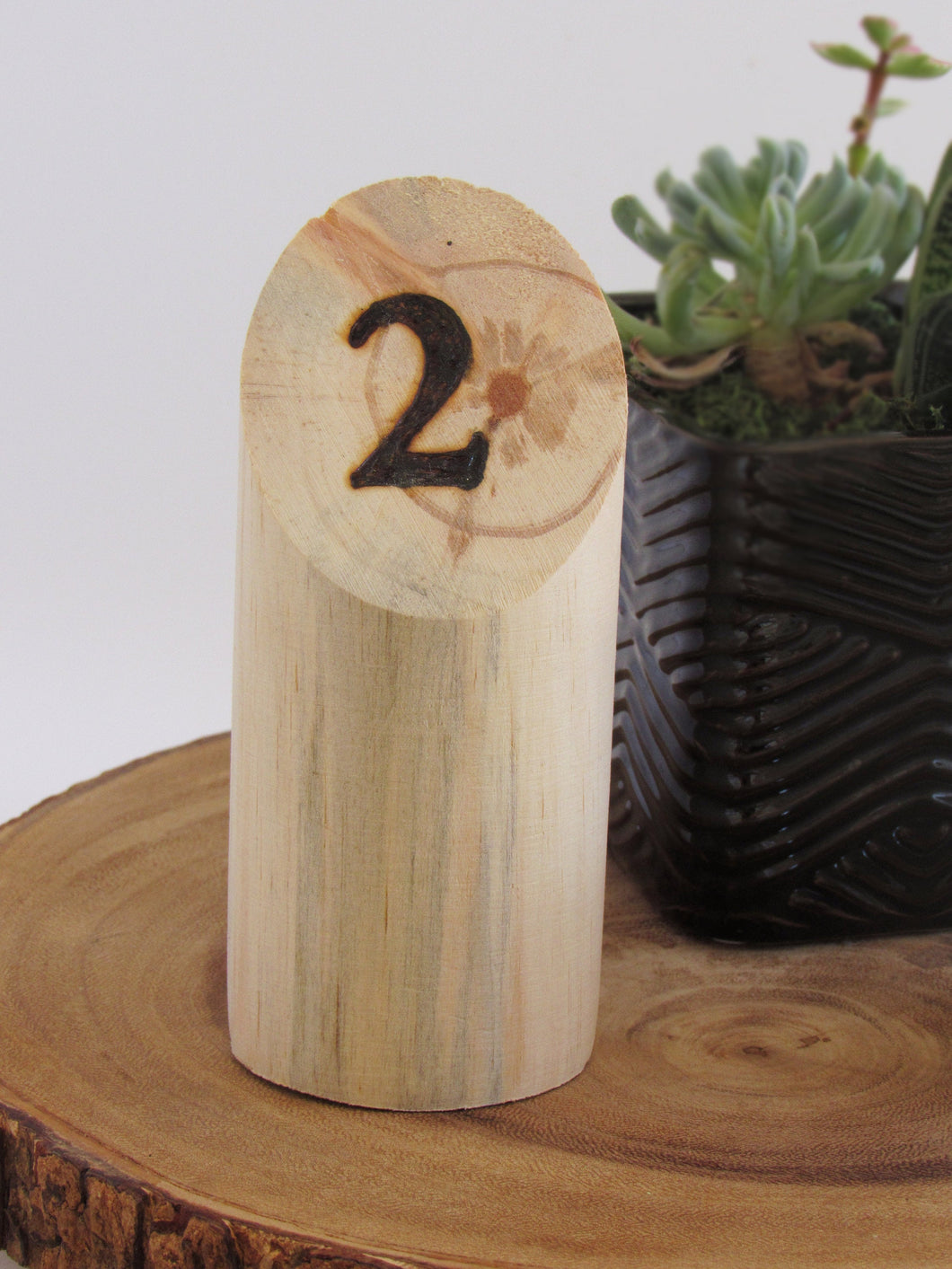 Wood Burned Log Table Numbers - JV Country Creations