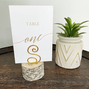 Monogram Birch table number holders