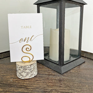 Birch and wire Table number holder