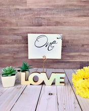 Load image into Gallery viewer, Wooden Love Table Number Stands - JV Country Creations