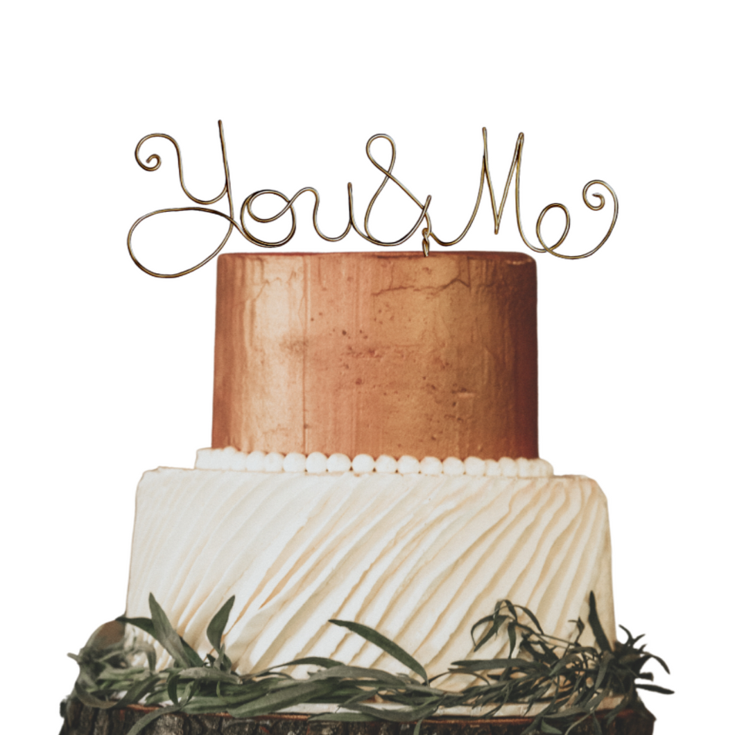 You and Me Wedding Cake Topper