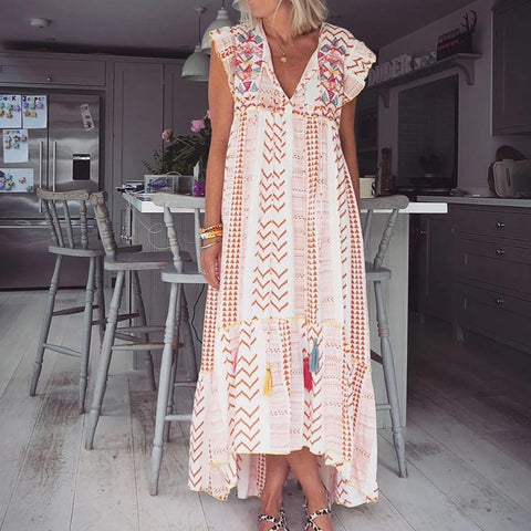 A Great Day for Style Printed Maxi Dress-Orange-S-