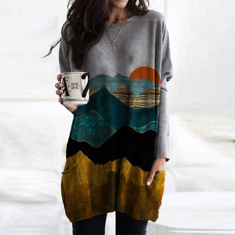 Abstract Printed Round Neck Long Sleeve Tee-Multicolor-S-