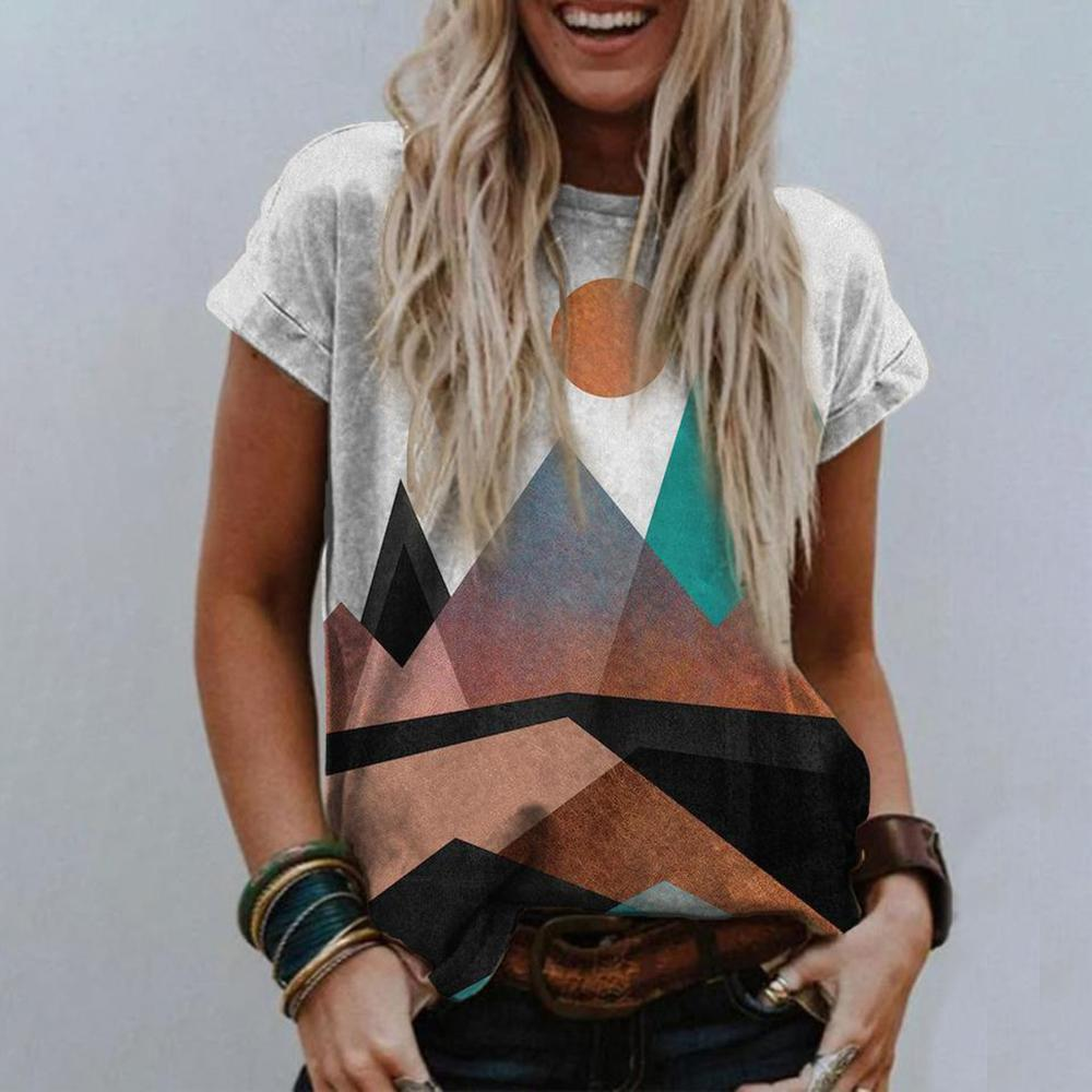 Abstract Printed Round Neck T-Shirt-Multicolor-S-