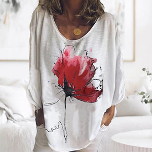 Abstract Printed V-Neck Long Sleeve Loose Tee-White-S-