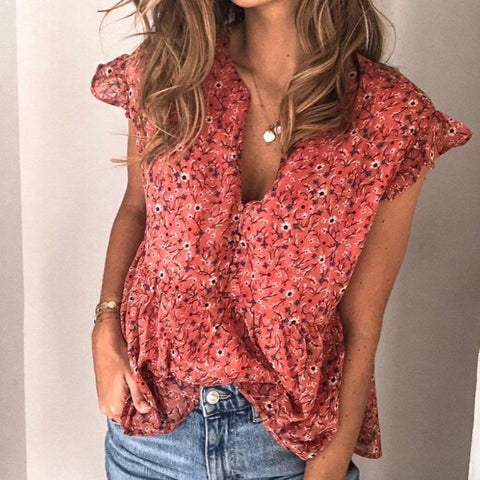 After the Rainfall Floral-print Blouse-Red-S-