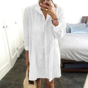 Ahead of the Rest White Shirtdress-White-S-
