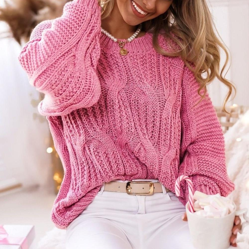 Always a Lady Pink Sweater-Pink-S-