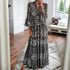 Animal Instinct Leopard Print Maxi Dress-Black-S-