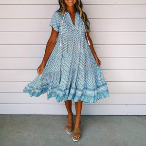 Around the World Printed Dress-Blue-S-