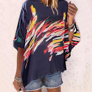 Artist's Eye Brushstroke-print Top-Navy-S-