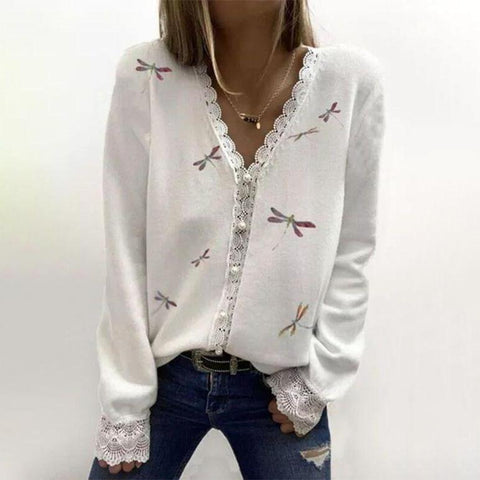 Attractive Dragonfly Print V-Neck Lace Trim Long Sleeve Top-White-S-