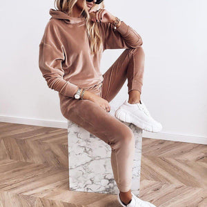 Attractive Plain Long Sleeve Hoodie Lounge Set-Brown-S-