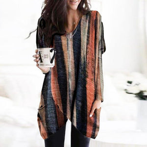 Autumn Feels Striped Pocket Tunic-Multicolor-S-